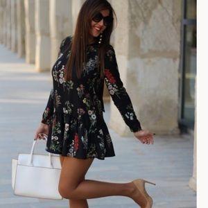 Zara floral print long sleeve romper